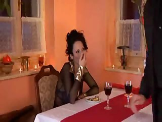 Busty Domino Gets It in a Restaurant