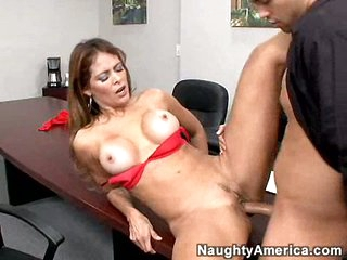 Tired of answering phones, hot secretary Monique Fuentes answers to a big cock