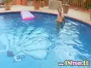 Busty woman masturbating in the pool