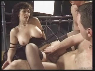 Retro threesome with naughty brunette milf
