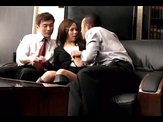 Office Lady Dominated By 2 Bosses Getting