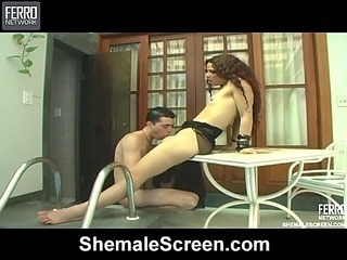 Bruna gorgeous shemale in action