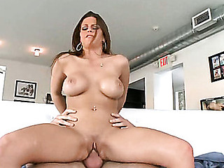 Large tit chick gives blow and titjob previous to riding up dick