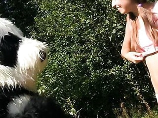 Oh no, somebody caught this breasty teenage in the forest, fastened her up and left her all alone like that. Who knows what could have happen to the poor thing, but suddenly a large panda bear appeared and rescued the pretty gal. A hero merits some award, right? Smth like a fun fuck would be just consummate, especially if the..