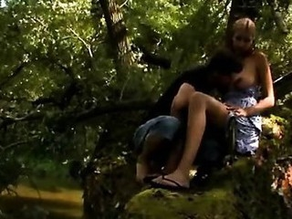 Hugecocked male seduces raunchy babe to have sex in a forest