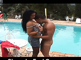 Raunchy tgirl treating a guy like her fuck doll digging his butt by the pool