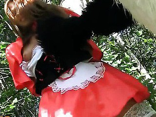 This is a story of a red riding hood, but it differs from the one u were told as a child :) The sexy teenage red riding hood was walking alone in the forest, and guess whom this babe met! No, it wasn't a wolf, it was a huge and horny panda bear! That Guy wasn't gonna eat her, all that guy wanted was a fun fuck. And as in a..