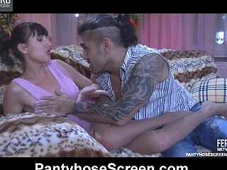 Ponytailed hotty in a pink dress and tan hose gets scored by a tattooed stud