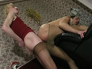 Steamy guys in lacy tights taking wild pleasure from their well-hung bodies