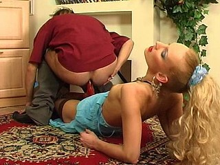 Extremely seductive lady taking out her strap-on to try out guy