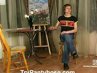 Kinky gay painter in nylon hose getting impaled on rock-hard pecker