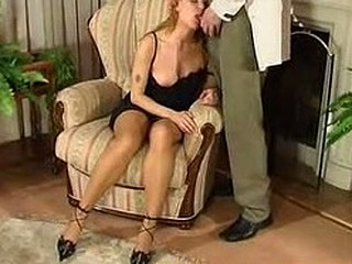 Romantic evening with sexy gal in sheer-to-waist hose ends with sexy fucking