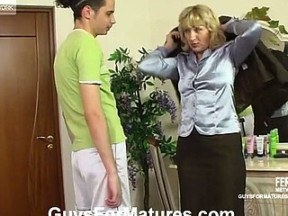 Aged business-woman fucking her younger paramour like there is no the next day