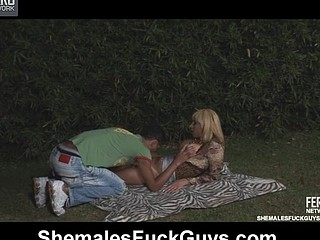 Heated ladyboy and a guy having good picnic with steamy oral-sex and doggie