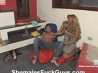 Lewd sissy guy pulls up his petticoat to get drilled by richly endowed shemale