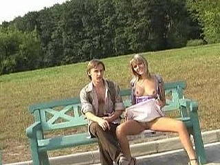 Turned-on chick has public flashing fun