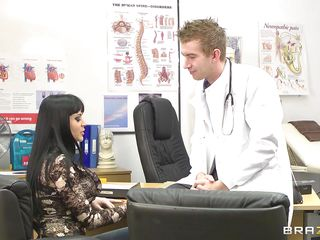 Anastasia Brill is a 20 years old romanian babe with long black hair huge awesome boobs and big sexy ass. This horny doctor slowly takes her clothes off as he enjoys her wonderful sexy body. Then this slutty brunette goes down and gives the doc some great head. Will the doctor get some of her ass?
