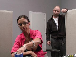 Look at this hot brunette melting ice on her big hot tits because of the extreme heat at the office but Johnny Sins is a bad ass boss and he's putting everyone to his place. Is this slut going to get some cock in her tight wet pussy or some spunk on her face?