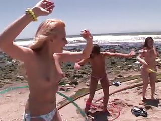 Here we have some hot babes playing around on the seaside, oiling their sexy body and hot asses when this guy starts talking with them and invites these sluts to a party. Things start to get interesting when everybody undresses and the with the help of alcohol the girls are getting wilder and of course hornier, this party will..