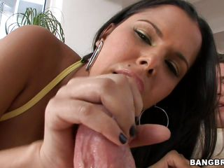 Look at this MILF giving hand job and blowjob. She is one hot Latina Diamond Kitty. When she gets a big cock she just adore it with every move she got. Look how she is licking the balls. Her tight pussy just gets filled with the meaty cocks and with every pounding her busty big boobs bounces.