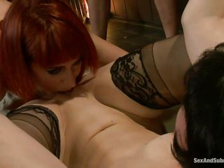 Coral Aorta is a brunette milf, well known for her dark sexual desires. Her friend, Odile is a red headed beauty who loves pleasuring other females and she is always there when help is needed. Watch how these two beauties are being punished while they satisfy each other by licking one another's shaved cunts.