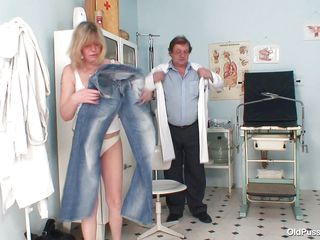 Blonde slut Agnesa is getting checked by her doctor. She is a mature bitch with big natural boobs, slutty face and hairy pussy. After he asks her to undress the medic is taking her vitals and uses suckers to make her nipples harder. This doc has a dirty mind and surely he will make her horny, who knows what tricks he has to..