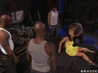 Asa Akira is in big trouble and she's going to get fucked hard no matter how fast she will run. These guys are surrounding her and her husband is grabbing this slut by her hair and then lets her to be fucked hard by the other ones after they strip her clothes. Because she's a slut she gets horny and starts sucking the black..
