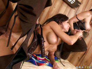 Watch this two very hot and horny babes, Nicki Hunter and Carina Roman, getting fucked by this guy. One of these cowgirls gets oiled up and receives a big hard dick in her asshole from behind while the other one grabs her by the neck. Look at that tight anus getting rammed by his big thick cock as she screams with pleasure and..