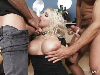 Those huge boobs are bouncing as she sucks cock and these guys are slapping them with their cocks and then continue fucking her pretty mouth. She's a horny blonde milf and nothing can stand between her and fresh hot semen. This slut want's hot jizz in her mouth and she's willing to do everything it takes for it. Watch her..