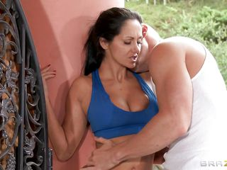 Ava Addams loves fucking outdoors when it rains. She gets her sexy natural tits licked by this bald guy and she starts kissing him until he puts his hand in her pants rubbing her cunt and then takes off those pants revealing her gorgeous ass. This guy enjoys licking her cute tits and rubbing her cunt, will he give her a huge..