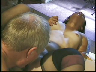 Bridget Powers is a brunette milf midget who enjoys old cock in her small vagina. He licks on her bald pussy and then sits down waiting her to give him the blowjob of his life. Then she starts to suck on his white rod like a pro. He loves the way she is sucking it and repays her with a strong fuck.