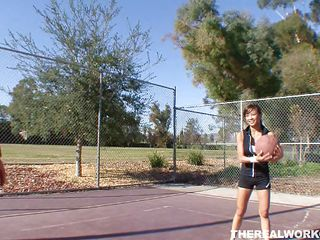Kina Kai is playing basketball with her man. After the game, it's time for some more one-on-one, this time without the clothes. Her pussy gets licked after those little shorts come off, and she even sits on her man's face. It's a quick flip so she can suck him at the same time. Looks like both win!