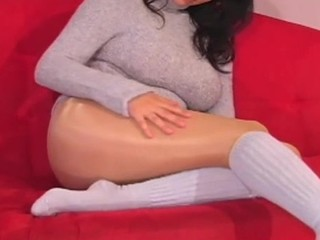 Awesome solo cutie fingers horny snatch throughout taut hose