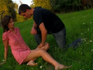 Horny legal stage teenager chick copulates on a fallen treen not on with partner