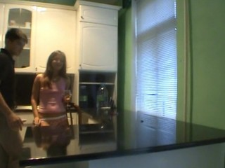Legal Age Teenager dude likes the way horny sweetheart makes a cook jerking for him
