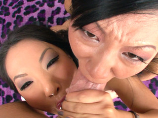Asa Akira and Tia Ling one as well as the other go for performer's large ramrod.