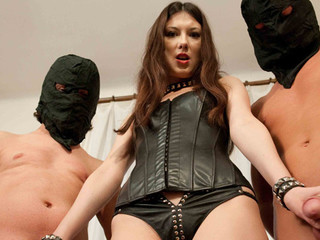 Two slaves pleasing an amateur gal orally