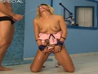 Gagged and bound up golden-haired old bag fucked right into an asshole intense