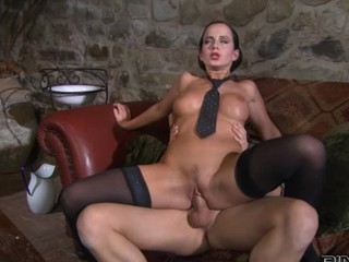 Sexy brunnete in nylons rides her boyfriend