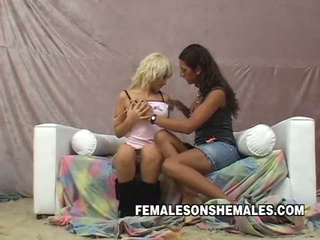 Shemale fucks hot blonde hardcore