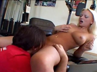 In the gym she makes a man cum