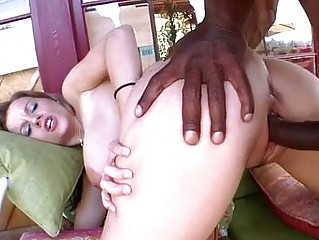 Pale busty milf gets her snapper rammed by black cannon