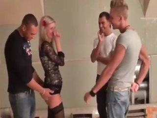 The hot young chick and three guys