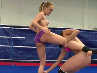 Blistering Blue Angel wrestles with this slut