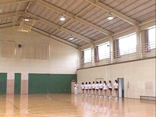Asian Teens Jog Semi Nude in Gym Class
