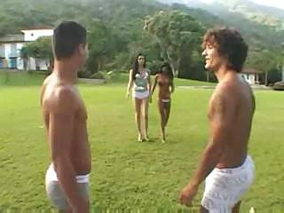 Outdoor foursome with a skilful shemale
