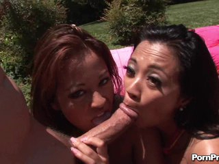 Exotic honey Mia Lelani and her sexy girlfriend share a thick hard dick