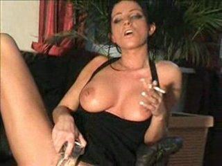 Slut Samira pees on dildo and smokes