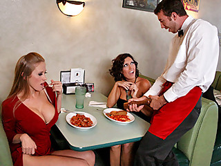 Abby and Dylan go out to a fancy restaurant and notice that the waiter looks big in the pants! They are so horny for big cock that they just have to find out if he's big or not, so they leave him their address on the table after they leave and he sees it and decides to go ahead and pass by their house for his 'tip'!