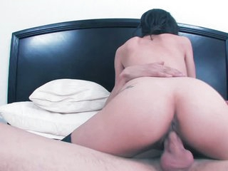 Brunette Tiffany Thompson in black stockings takes off her red g-string after sucking hard dick in the bedroom. She takes stiff dick up her shaved pussy with big desire. She loves hard pussy fucking.